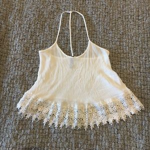 Off white Crop top loose fit with lace